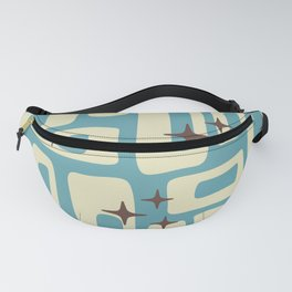 Retro Mid Century Modern Abstract Pattern 576 Blue Brown Fanny Pack