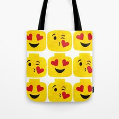 Hearts Minifigure Emoji Tote Bag