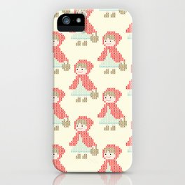 Red Riding Hood Cross Stitch Pattern on yellow iPhone Case