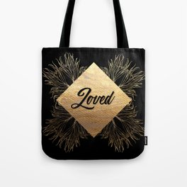 Loved - Black and Gold Design Tote Bag