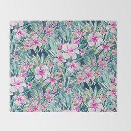 LUSH OLEANDER Tropical Watercolor Floral Throw Blanket