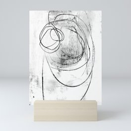 Black and White Textured Scribble Abstract Painting Mini Art Print