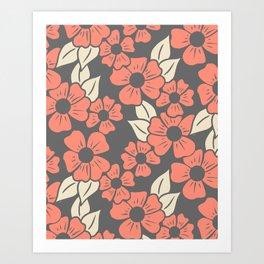Coral Floral Art Print