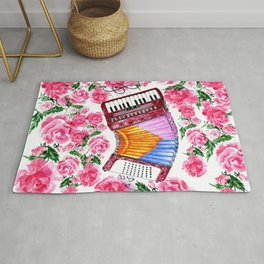 Accordion with pink roses Rug