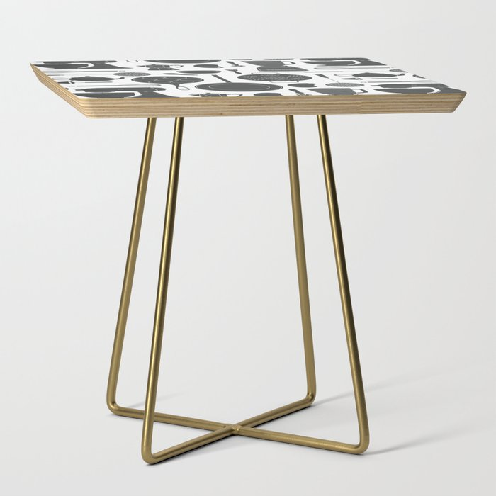Kitchen Tools (black on white) Side Table
