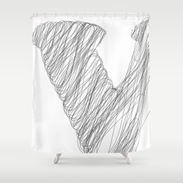 """ Cloud Collection "" - Minimal Letter V Print Shower Curtain"