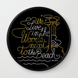 WOODY BEACH Black/Yellow Wall Clock