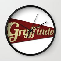 gryffindor Wall Clocks featuring Gryffindor 1948 Vintage Pennant by Andy Pitts
