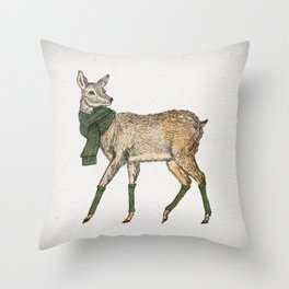 Winter Deer Throw Pillow
