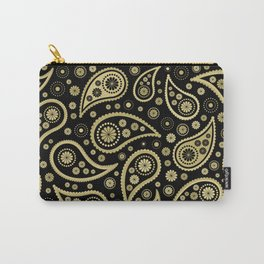 Paisley Funky Design Black and Gold Carry-All Pouch