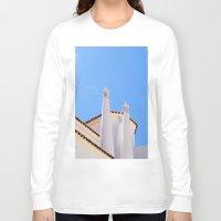 portugal Long Sleeve T-shirts featuring Chimney pots portugal by Brian Raggatt