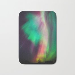 Big beautiful multicolored northern lights in Finland Bath Mat