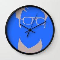 dwight schrute Wall Clocks featuring Dwight Schrute by Stacia Elizabeth