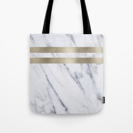 Smokey marble and gilded striped accents Tote Bag