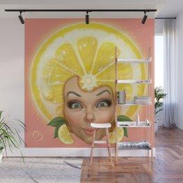 Lemon fruit face Wall Mural