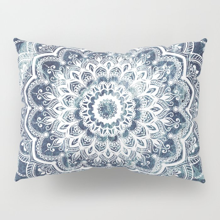 Pleasure White On Blue Marble Pillow Sham
