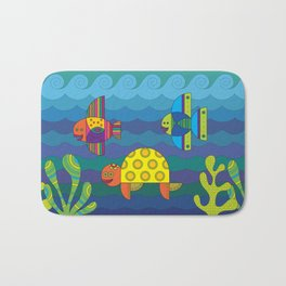 Stylize fantasy fishes and turtle under water. Bath Mat