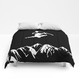 Rocky Mountain Snowboarder Catching Air Comforters