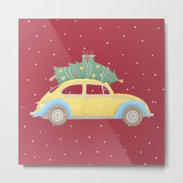 Vintage Car Christmas Tree on the Roof Metal Print