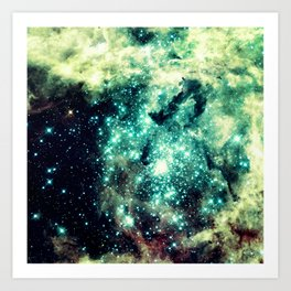Galaxy Nebula Teal Art Print