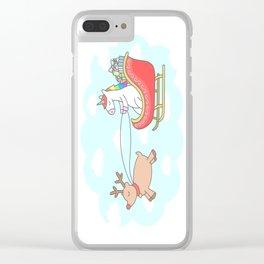 Unicorn Sleigh Clear iPhone Case