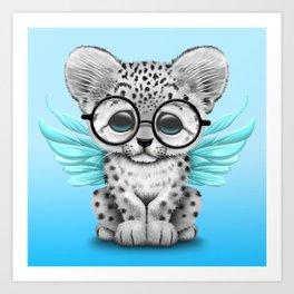 Snow Leopard Cub Fairy Wearing Glasses on Blue Art Print