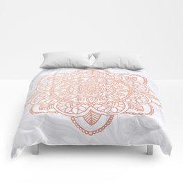 Rose Gold Mandala on White Marble Comforters
