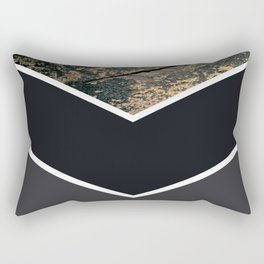 Scandinavian Gold Concrete Black Gray Geometric Pattern Rectangular Pillow
