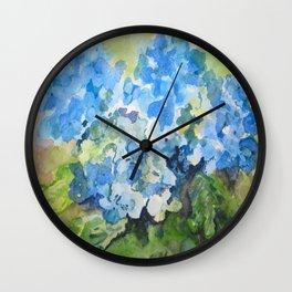 Blue Hydrangeas Wall Clock