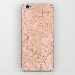 Pink and gold Madrid map, Spain iPhone Skin