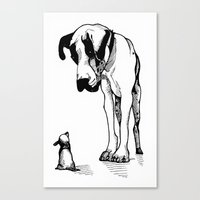 great dane Canvas Prints featuring Great Dane by Mr Shins