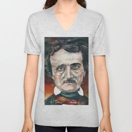 EDGAR ALLAN POE - watercolor portrait.4 Unisex V-Neck