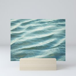 Water Abstract Photography, Ocean Ripples, Blue Teal Sea Mini Art Print