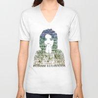 bjork V-neck T-shirts featuring Bjork Human Behaviour  by b_ethany