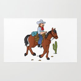 Cowboy on the horse Rug