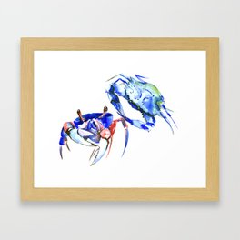 Blue Crab sea world seafood restaurtant kitchen wall art crab painting Framed Art Print