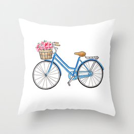 Bicycle art Bicycle print Bicycle wall art Bicycle poster Vintage bicycle art Throw Pillow