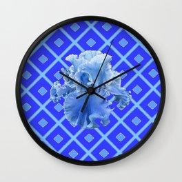 Baby Blue German Iris Blue Pattern Wall Clock