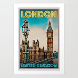 Retro Vintage Style Travel Poster or Canvas Picture - London United Kingdom Art Print