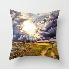 'May the Road Rise Up to Met You' Landscape Painting by Jeanpaul Ferro Throw Pillow