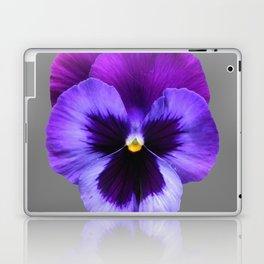 GREY MODERN ART SINGLE PURPLE PANSY Laptop & iPad Skin