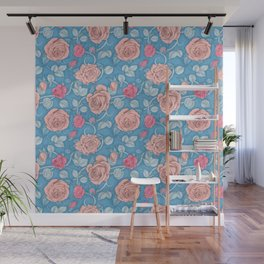 Roses Blue Pink Wall Mural