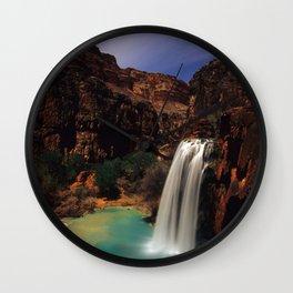 Havusu Falls at Night Wall Clock