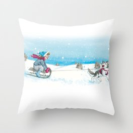 Anna and Husk in the snow Throw Pillow