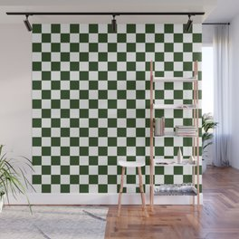 Large Dark Forest Green and White Check Squares Wall Mural