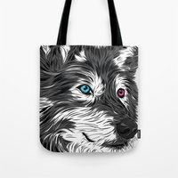 gray Tote Bags featuring Gray wolf by Roland Banrevi