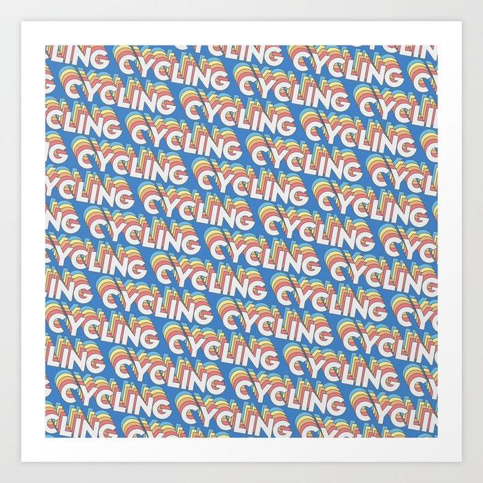 Cycling Trendy Rainbow Text Pattern (Blue) Art Print