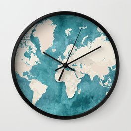 Teal watercolor and light brown world map Wall Clock
