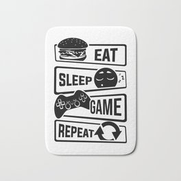 Eat Sleep Game Repeat | Video Game Console Gaming Bath Mat