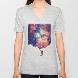 Painting the universe (Colorful Negative Space Art) Unisex V-Neck